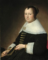 potrait of a lady, three-quarter-length, in a black dress with gold brocade, and a white collar, holding a gold chatelaine by johannes cornelisz verspronck