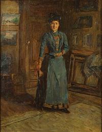 dame in het atelier by pierre (pieter) oyens