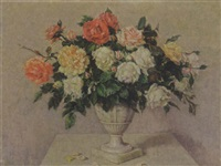 roses in an urn-shaped vase by lena cornelia ten bosch