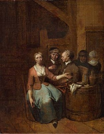 interior of an inn with men and women by jan baptist lambrechts