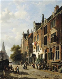 a sunny day with figures in an amsterdam street, the westerkerk beyond by adrianus eversen