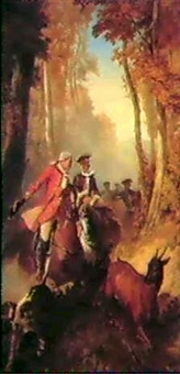 a hunting scene in eighteenth century costume by louis eugène ginain