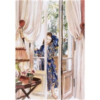 untitled (standing on patio with robe) by delia brown