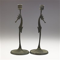 seahorse candlesticks by e.t. hurley