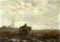 a horse drawn cart on a sand path by frans slager