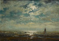 moonlight on katwijk strand by arthur feudel