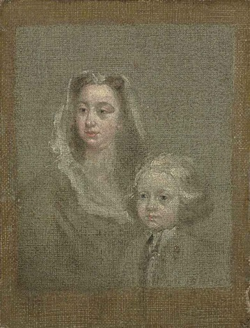 head study of a lady with her son by william hogarth