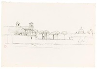 view of the villa borghese (+ 2 others; 3 works) by jean achille bénouville