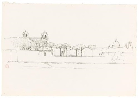 view of the villa borghese 2 others 3 works by jean achille bénouville