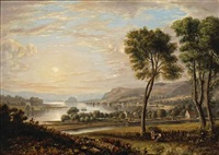 a view of dumbarton, scotland across the water by john fleming