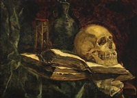 memento mori with cranium and books by etha fles