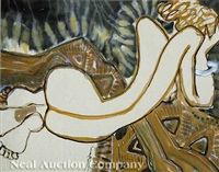 reclining nude (+ fish and cat; 2 works) by bui ngoc tu