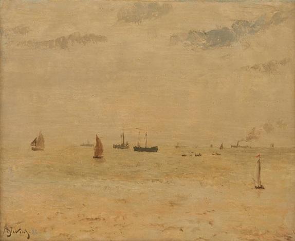 mer calme à sainte adresse by alfred stevens