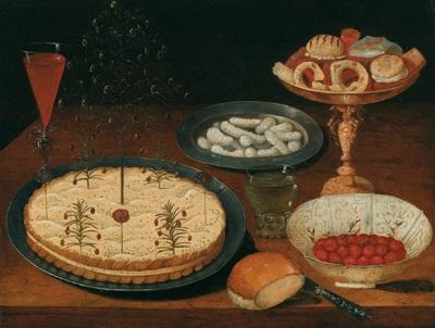 stilleben mit bäckereien und erdbeeren auf zinntellern einer vergoldeten prunktazza in einer wan li krak porzellan schale dazu ein gefülltes weinglas à la venisienne by osias beert the elder