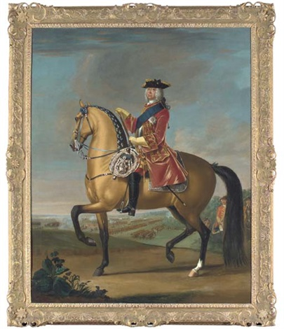 equestrian portrait of king george ii in a red velvet coat with gold embroidery in a landscape with a military camp and infantry beyond collab wstudio by david morier