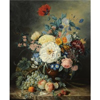 a still life with flowers and fruit by adriana van ravenswaay