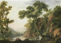 peasants fishing on the banks of a river, with a rocky landscape beyond by george barret
