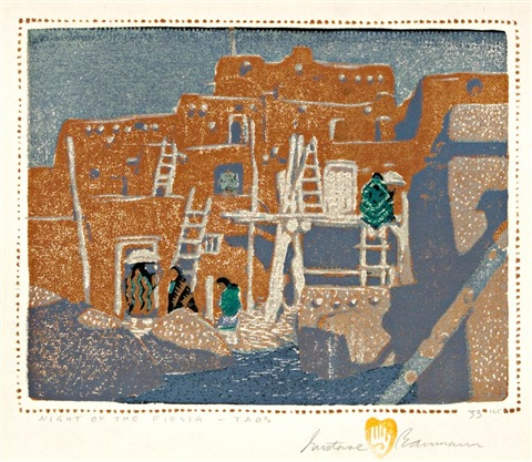 night of the fiesta taos by gustave baumann
