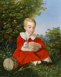 porträt eines knaben mit einem zwerghasen im arm by joseph weidner