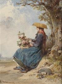 blumenmädchen mit strohhut unter einem baum sitzend by eduard hildebrandt
