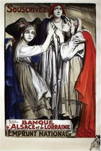 banque d'alsace et de lorraine, emprunt national avec un dessin by dominique charles fouqueray