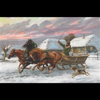 cossack driving a horse drawn sleigh by leszek piaseck