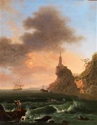 meeresbucht mit einem leuchtturm by carlo bonavia