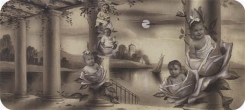 five cherubic toddlers emerging from rose blossoms by paul le boyer