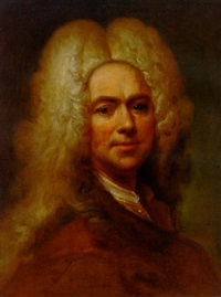portrait of a gentleman in a brown jacket, wearing a wig by joseph vivien
