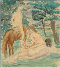 a landscape with figures by a horse by herbert fiedler