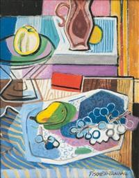 banquet-piece with fruits by otto fischer-trachau