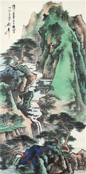 山水 镜片 设色纸本 by xie zhiliu
