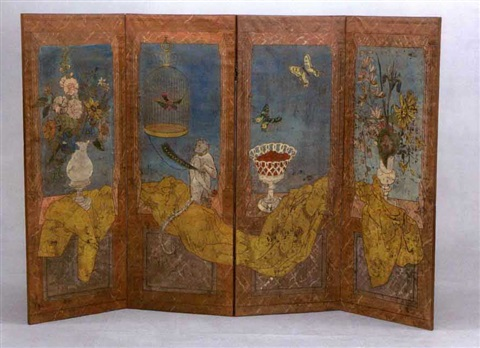 still life of flowers, monkey and bird (folding screen in 4 panels) by frederick arthur jessup