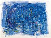 abstract composition in blue by george condo