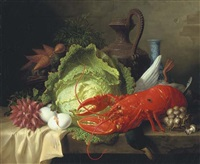 still life with lobster by ange louis guillaume lesourd-beauregard