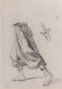 étude de pantalon de zouave (study) (+ 5 others; 6 works) by thomas couture