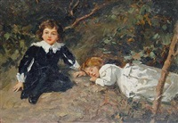 children resting in a wood by salvatore postiglione