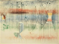 large & complex monoprint by harry bertoia