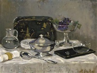 a still life with a silver soup tureen by marie van regteren altena