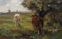 cattle in a summer landscape by frans langeveld