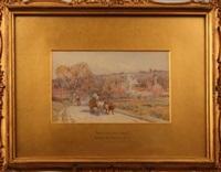 vache et ses boeufs sur un chemin de moret sur loing by harold joseph swanwick