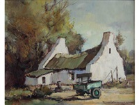 wagon before a farm cottage by christiaan nice