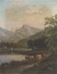 highland cattle by a river, near brodick, arran by albert dunington