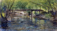 bridge over a tranquil stream by george agnew reid