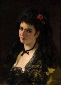 retrato dama con rosa by manuel cabral aguado y bejarano
