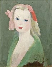 jeune femme au ruban rose by marie laurencin