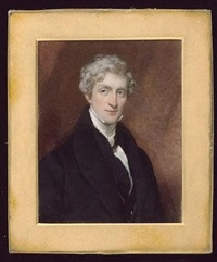 a gentleman wearing black coat, matching waistcoat and white cravat by octavius oakley