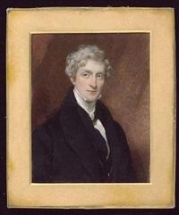 a gentleman wearing black coat, matching waistcoat and white cravat by octavius oakley