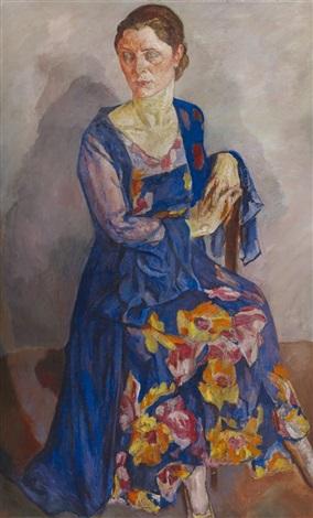 porträt einer dame im abendkleid by maria mela muter