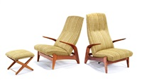 rock'n-rest lounge chairs and foot stool (set of 3) by gimson and slater (co)